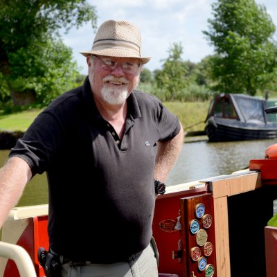 A man on his Canal Boat in West Lancashire