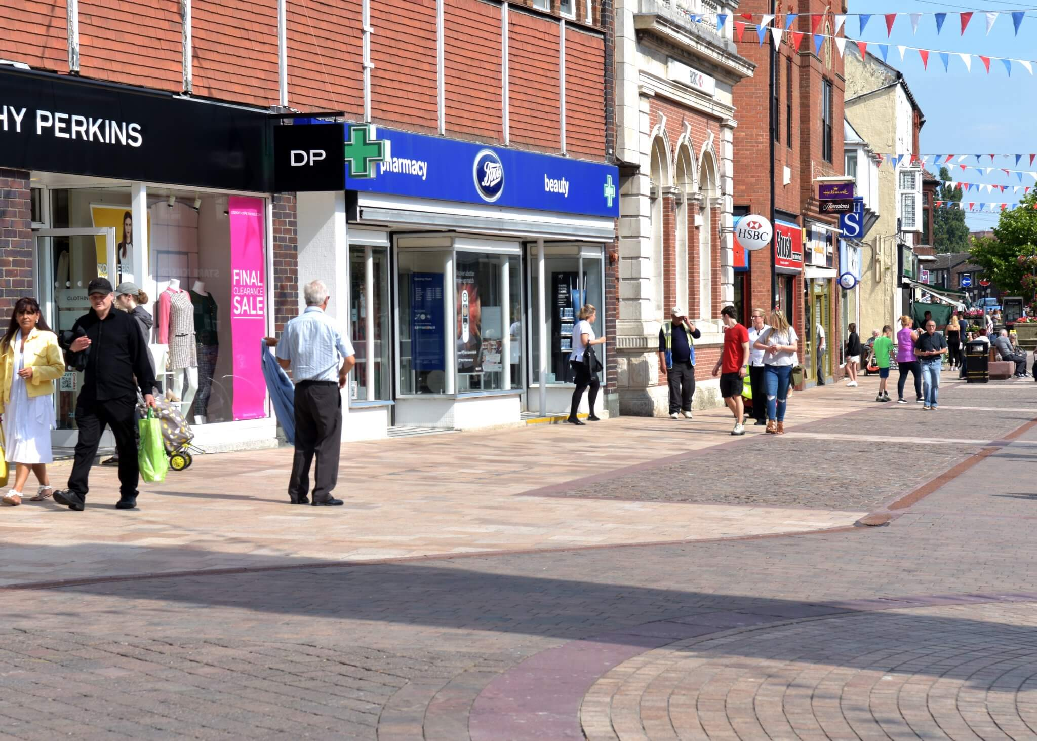 High street shops in Ormskirk town centre