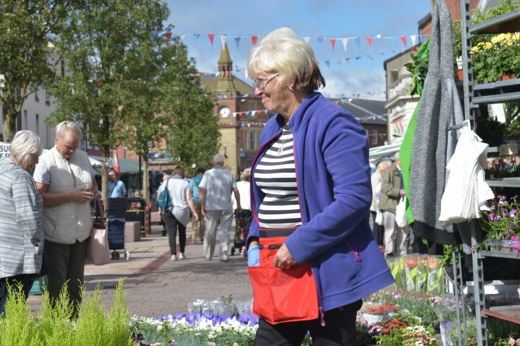 A trader selling plants at Ormskirk Market