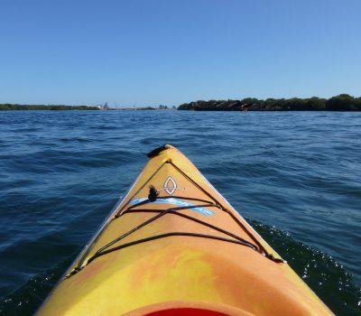 Yellow kayak in the water