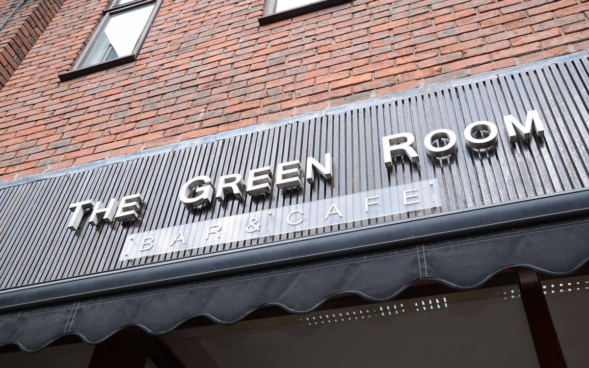 Photo of The Green Room sign outside