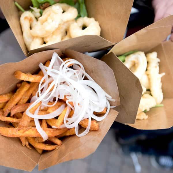 Squid and Sweet Potato Fries