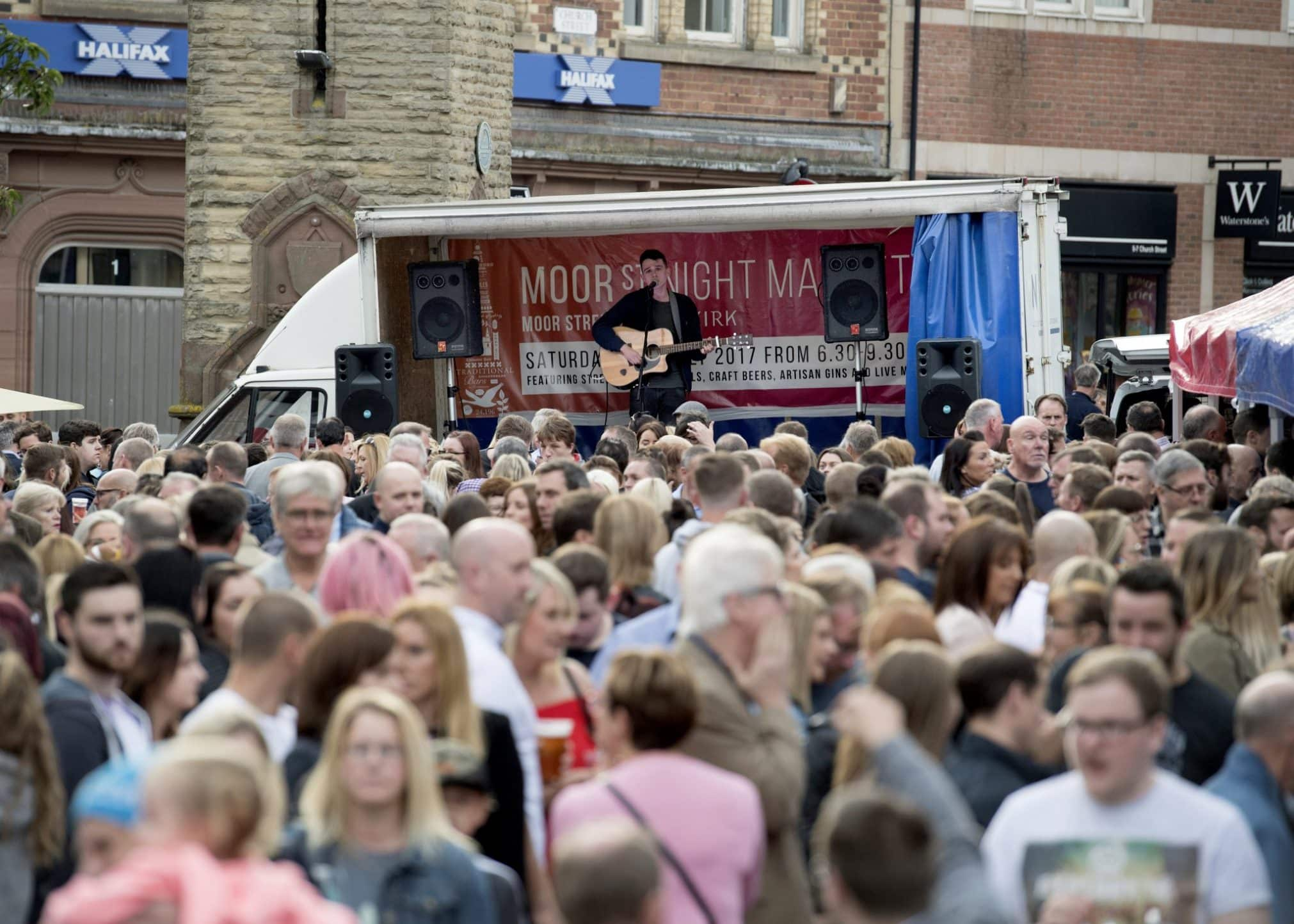 A crowd at Moor St Night Market in Ormskirk