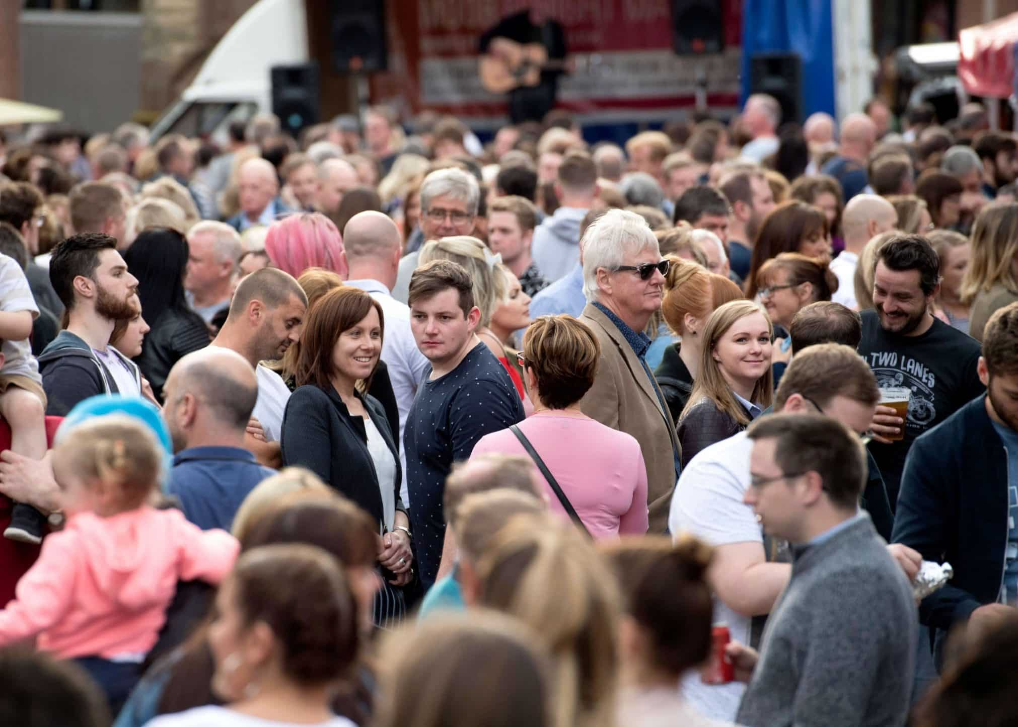 A crowd of people at Moor St Night Market in Ormskirk