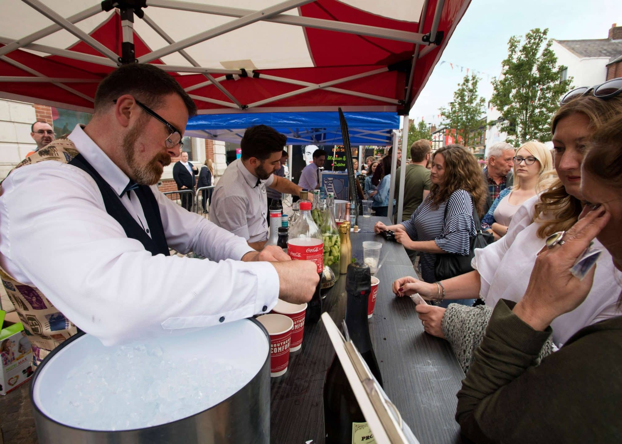 Drinks being served at Moor St Night Market in Ormskirk