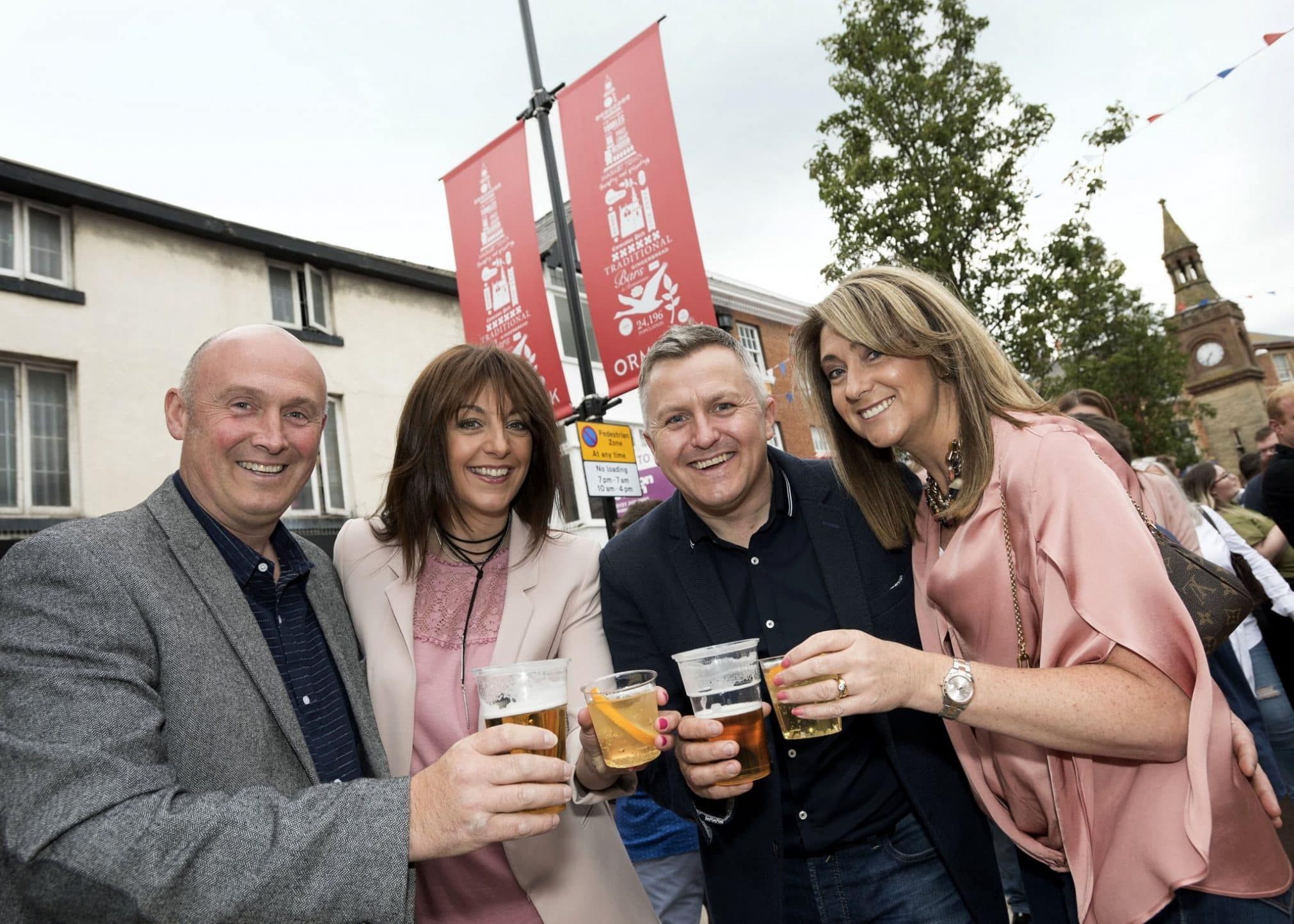 Martin, Ruth, Paul and Lisa enjoy some drinks at Moor St Night Market