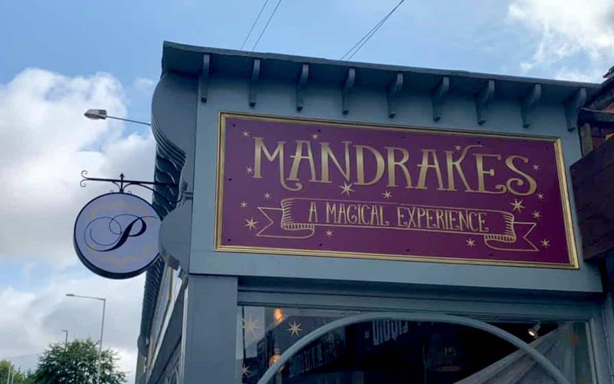Mandrakes Cafe exterior signage
