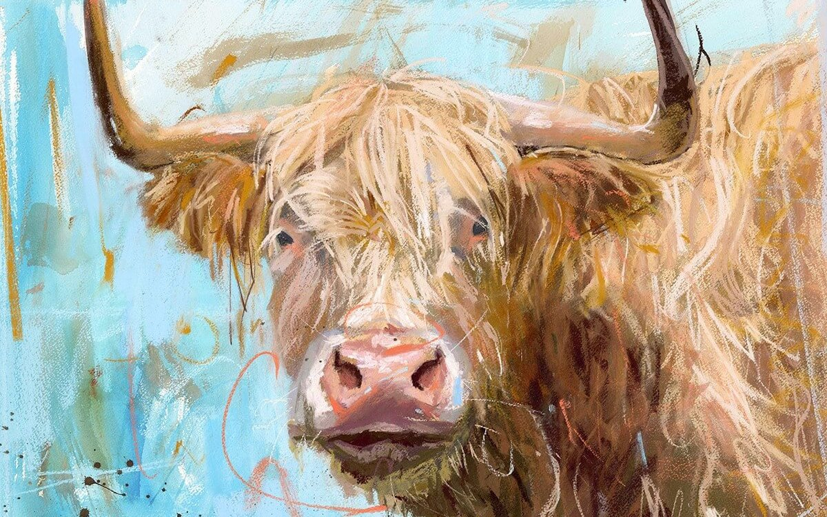 A cow painting done by James from Mill House Gallery