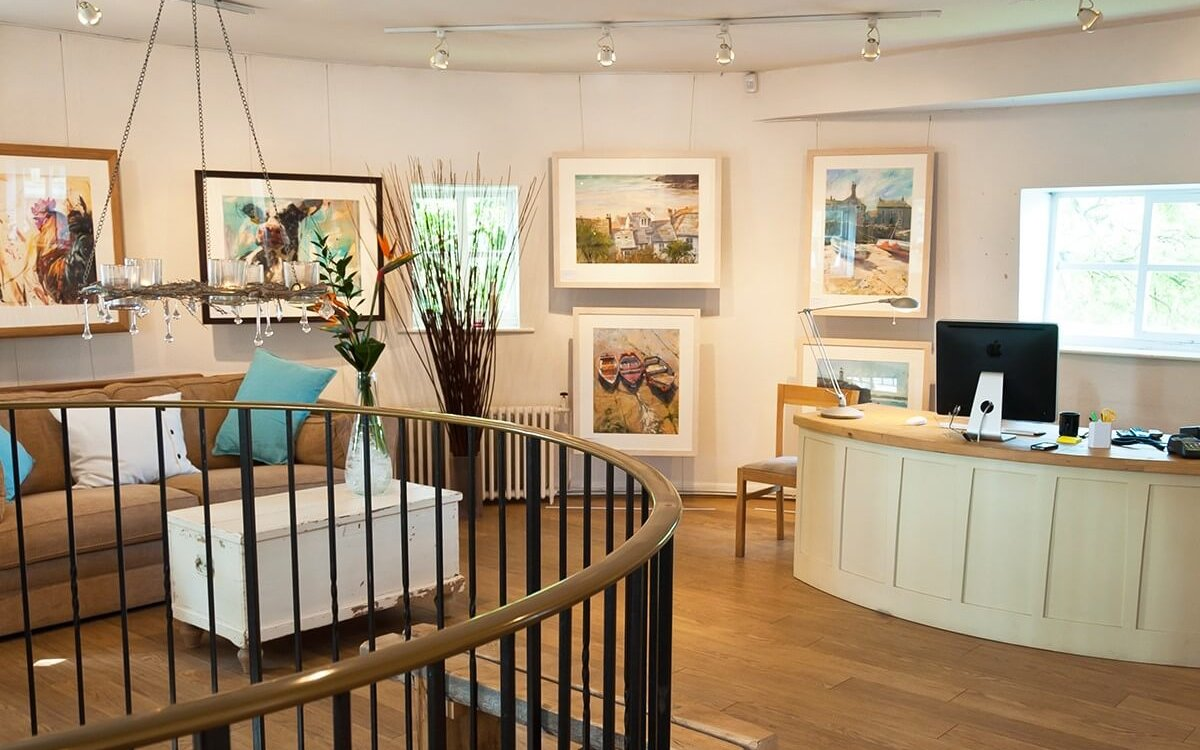 The upstairs showroom of Mill House Gallery