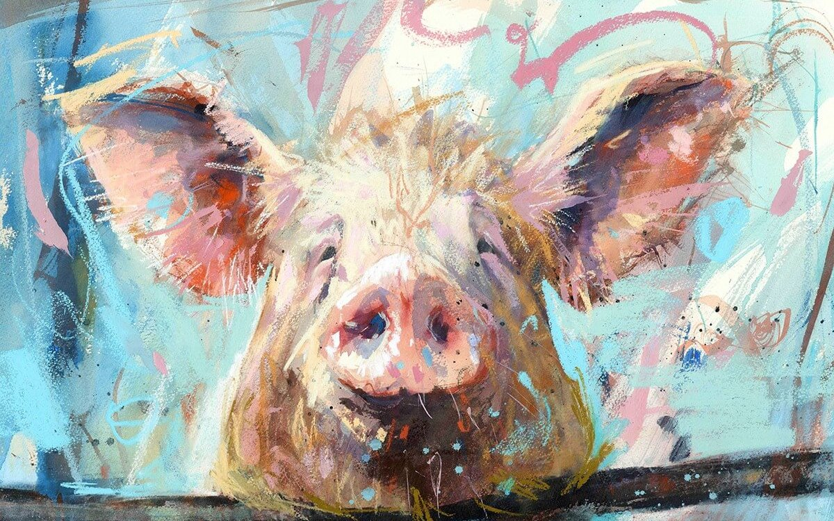 A pig painting done by James from Mill House Gallery