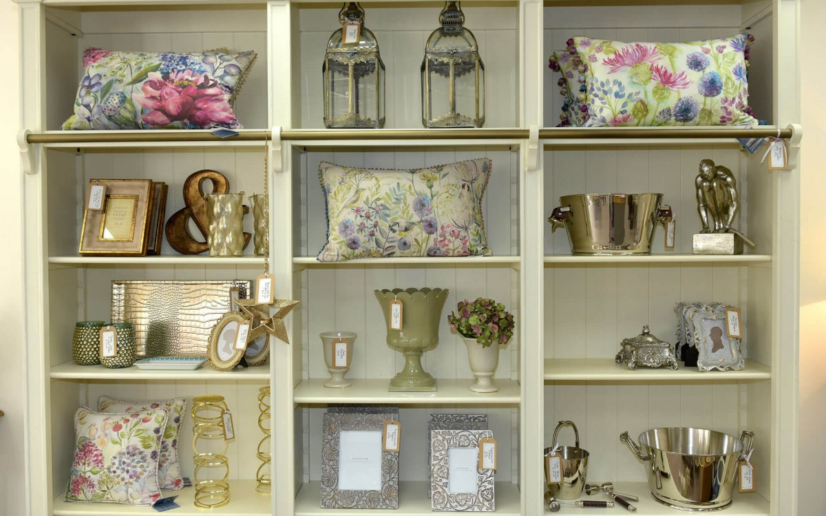 Some beautiful products on the shelf at Peony Home Interiors