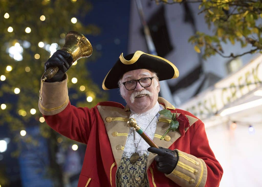 The Town Crier at Ormskirk Light Switch on